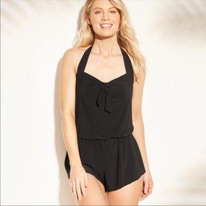 Aqua Green Romper Style Swimsuit Black Medium